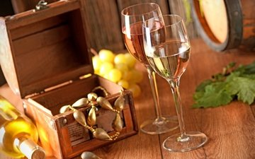 украшения, виноград, вино, бутылка, бокалы