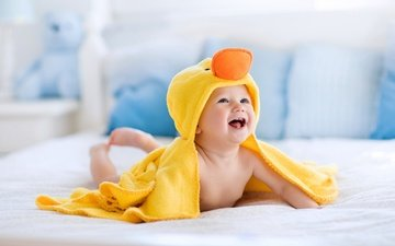 улыбка, дети, ребенок, младенец, полотенце