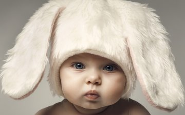 look, children, ears, face, child, hat, bunny