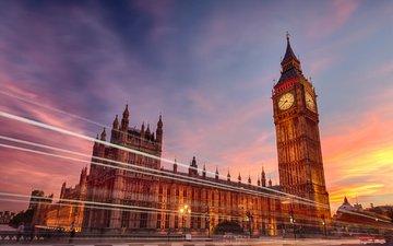 вечер, лондон, город, часы, англия, выдержка, биг бен