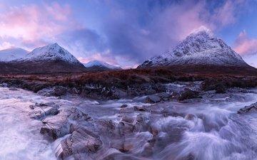 вечер, река, горы, снег, камни, шотландия, течение