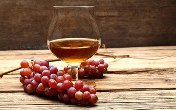 виноград, стол, бокал, алкоголь, коньяк, гроздь