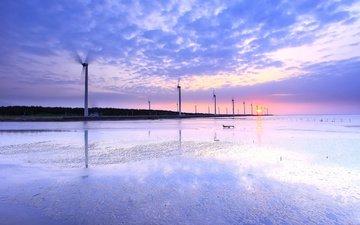 вода, берег, отражение, мель, ветряки, пролив, ветротурбины