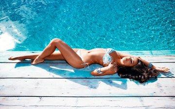 вода, девушка, бассейн, фигура, бикини