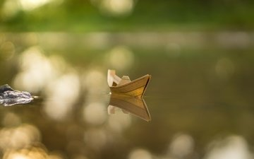 water, background, paper, boat