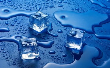 вода, фон, капли, цвет, лёд, кубики
