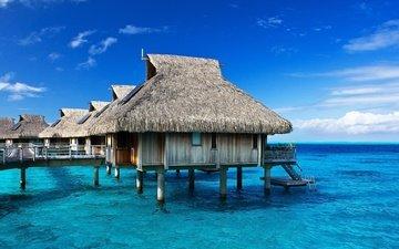 небо, вода, природа, море, лето, домики, океан, курорт, бунгало, тропики, бора-бора, вилла на воде