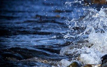 вода, камни, берег, макро, море, волна, брызги, мокро