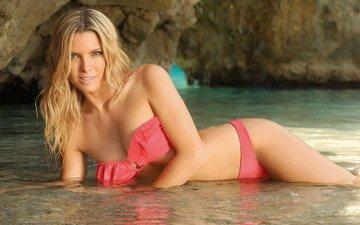 water, sea, blonde, look, swimsuit, posing, beautiful