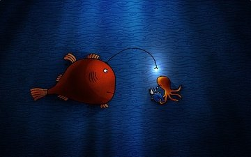 вода, осьминог, лампочка, рыбка, книга, подводный мир