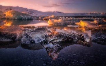 свет, вода, горы, снег, камни, зима, отражение, лёд, лагуна, исландия