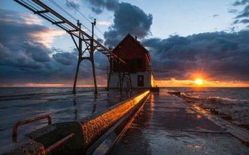 волны, закат, море, маяк, пирс, брызги