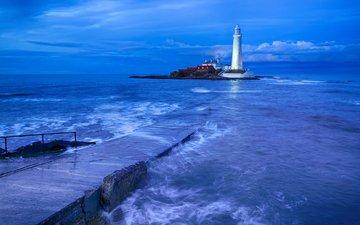 закат, маяк, пирс, причал, башня, океан