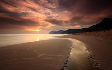 небо, облака, скалы, берег, закат, пейзаж, море, пляж