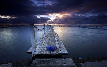 небо, облака, закат, тучи, море, пирс, ласты
