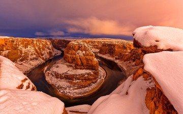 закат, зима, каньон, сша, глен-каньон, штат аризона