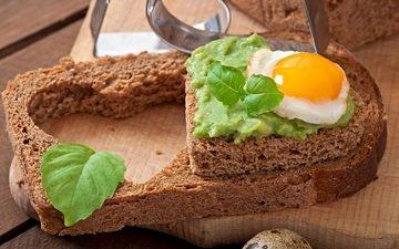 зелень, бутерброд, хлеб, яйцо, начинка