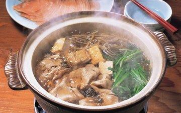зелень, мясо, бульон, палочки, спагетти, суп, китайская кухня