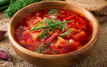 зелень, овощи, борщ, чеснок, суп
