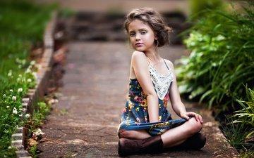 greens, dress, track, summer, children, girl, hair, face, child, boots