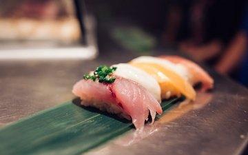 зелень, рыба, суши, морепродукты