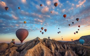 the sky, clouds, mountains, balloons, turkey