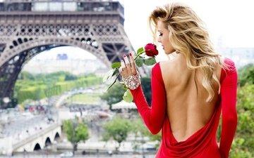 девушка, блондинка, цветок, роза, город, париж, женщина, эйфелева башня