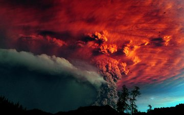trees, smoke, the eruption, the volcano, ash, chile, red sky, the volcano puyehue