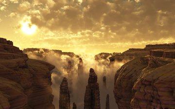 небо, облака, горы, скалы, солнце, туман, каньон, ущелье, каньоны