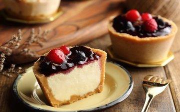 ягоды, сладкое, десерт, пирожное, начинка
