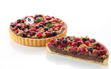 ягоды, шоколад, выпечка, пирог, начинка