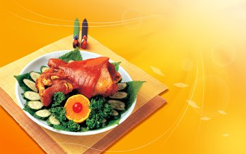 апельсин, мясо, петрушка, огурцы