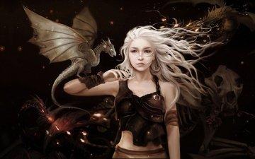 арт, девушка, фентези, роза, дракон, дракончик, игра престолов, песнь льда и огня, дейенерис таргариен