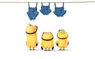 white background, clothing, rope, minions, 3d graphics