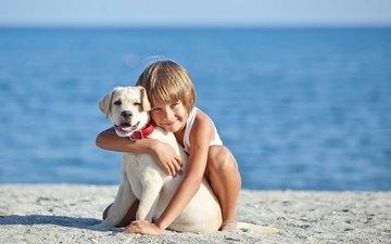 берег, настроение, море, улыбка, собака, ребенок, мальчик, друзья, объятия, ретривер