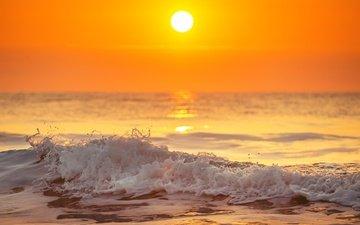 берег, волны, закат, пейзаж, море, песок, пляж, волна, океан, прибой