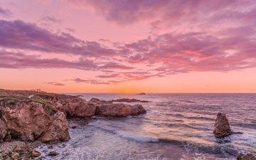 небо, облака, берег, закат, пейзаж, море, пляж