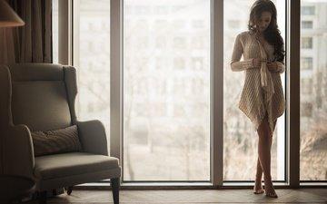 девушка, брюнетка, ножки, волосы, кресло, окно, stefan hausler, marisa malik