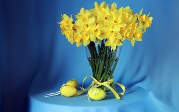flowers, bouquet, easter, eggs, daffodils