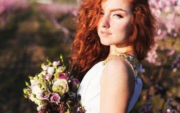 девушка, взгляд, волосы, букет, лицо, невеста, рыжеволосая