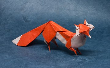бумага, лиса, хищник, оригами, лисица