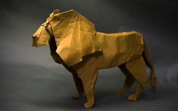 бумага, оригами, лев