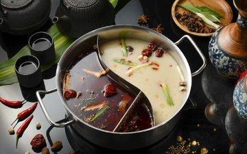 чай, приборы, кастрюля, перец, специи, суп