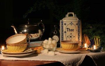 чашка, чай, свеча, чайник, сахар, натюрморт
