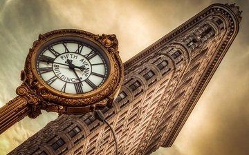 часы, сша, здание, clock, нью - йорк, flatiron building