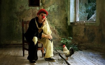 человек, комната, клоун, шляпа, курица, петух
