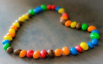 цвета, конфеты, сердце, шоколад, сладкое, m&m's