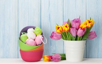 flowers, bouquet, tulips, easter, holiday, decor