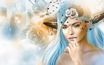 цветы, арт, девушка, настроение, взгляд, волосы, эльф