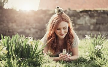 flowers, grass, girl, smile, birds, chickens, redhead